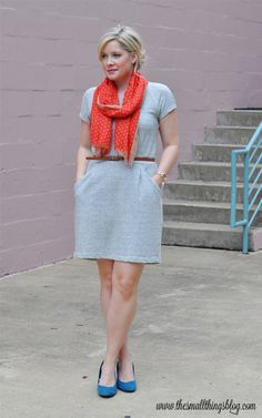 Grey dress, teal shoes...??? The only one I can find but gets the point across!