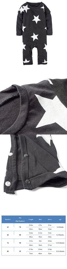 BIG ELEPHANT Unisex-baby 1 Piece Long Sleeve Romper Pajama J55