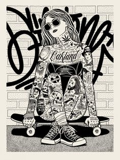 cross leg skater by Mike Giant Mike Giant, Arte Pop, Illustration Inspiration, Illustration Art, Tatouage Rock And Roll, Art Sketches, Art Drawings, Arte Lowrider, Coloring Books