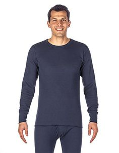 Mens Classic Waffle Knit Thermal Crew Top  Dark Blue Large -- To view further for this item, visit the image link.