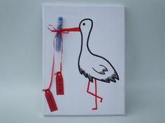 Geldgeschenke - Keilrahmen Baby Storch Geldgeschenk - ein Designerstück von IdeenFeen bei DaWanda