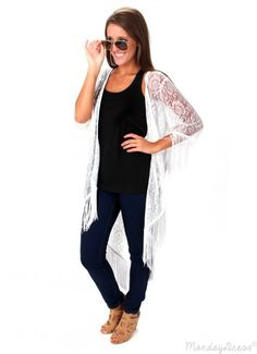 Wild At Heart White Lace and Fringe Cardigan