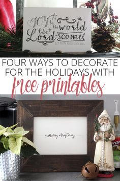 Want to jazz up your Christmas decor without spending a lot of dough? Use free Christmas printables, available online. A quick search shows beautifully scripted bits of art and lettering that artists are sharing for free. From framed centerpieces to wall art to bookshelf vignettes, these printables lend a hand-crafted look to your decor. Beautify your home during the holidays as you implement eBay's four ways to decorate for the holidays with free printables.