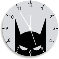 Bat Wall Clock, Nursery Room Decor, black and white Superhero WALL CLOCK Nursery Wall Clock, A perfect added touch to your child's room or beautiful addition to the play room. Cute, fun and colorful designed Wall Clock for your kids room or a unique gift for any lucky! A very