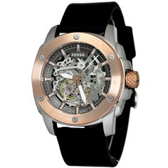 dacf4ee27a5 Fossil Men s ME3082 Modern Machine Automatic Skeleton Dial Black Leather  Watch