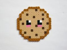 Chocolate Chip Cookie Kawaii Food Perler Bead by RainbowMoonShop, $3.50