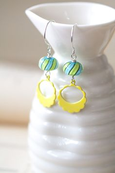 Blue Green and Yellow Lampwork Earrings, Mother's Day Gift, Birthday Gift, BFF Gift, Gift for Her Mom Sister Aunt under 35 dollars