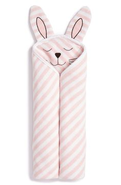 Love the cute, friendly bunny face on this cozy hooded bath towel for little one patterned in soft pink stripes and made from absorbent cotton.