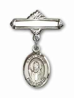 Sterling Silver Baby Badge with St. David of Wales Charm and Polished Badge Pin St. David of Wales is the Patron Saint of Doves/Wales Needzo Religious. $47.25. St. David of Wales. 1 X 5/8 inch Polished Badge Pin Patron Saints - D St. David of Wales is the Patron Saint of Doves/Wales. Made in the USA - Lifetime guarantee against tarnish. Christian Patron Saint Medal Pendant Necklace. Patron of Doves/Wales