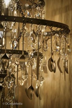 Chandelier Repurposed Vintage Silverware Tea Set By Litforaqueen Custom Made To Order With Clients Own Silver Pieces Super Cool Lights Pinterest