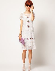 ASOS SALON Kaftan Dress with Bright Embroidery