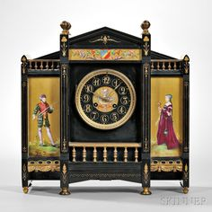 Belgian Black Slate and Porcelain Panel Petite Sonnerie Mantel Clock. | Auction 2890M | Lot 36 | Sold for $523