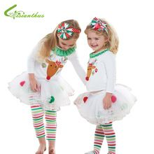 Girls Christmas Clothing Sets Long Sleeve T-shirt & Pantskirt Baby Kids Halloween Party Costumes Children New Year Free Shipping(China (Mainland))