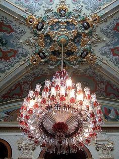 Beautiful chandelier inside Dolmabahce Palace, Istanbul, Turkey (by Sheepdog Rex).one of the most beautiful palaces I've ever seen World's Most Beautiful, Beautiful Lights, Beautiful World, Antique Chandelier, Chandelier Lighting, Crystal Chandeliers, Moroccan Chandelier, Baccarat Crystal, Chinoiserie