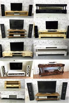 It is not always necessary to arrange something to attach the TV to the wall because there are many ideas of creating wood pallet TV stand that looks nice when placed in the TV launch. The main … Wooden Pallet Crafts, Wood Pallet Furniture, Pallet Sofa, Diy Pallet Projects, Wooden Pallets, Upcycled Furniture, Pallet Boxes, Pallet Tv Stands, Pallet Ceiling