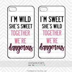 Sweet and Wild bff Case / Dangerous Together Best Friends Cute Trendy iPhone 4s, 5s, 5c, 6, 6 Plus, Samsung s3, s4, s5 Set of 2 Cases Bff Iphone Cases, Bff Cases, Funny Phone Cases, Ipod Cases, Diy Phone Case, Best Friend Cases, Friends Phone Case, Best Friends, Funny Friends