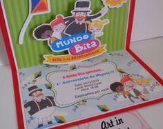 Convite Pop up Bita | Atelie Art in Festas | Elo7
