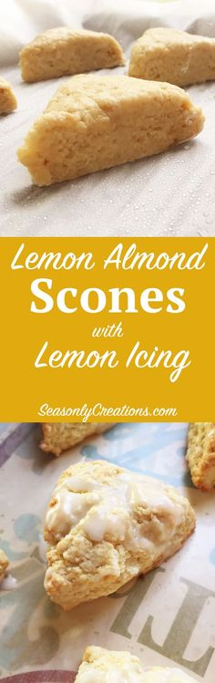 Lemon Almond Scones with Lemon Icing. Weekends were made for these sweet lemon almond scones drizzled with a smooth lemon icing. I love lazy weekend mornings and this lemon scone recipe is perfect with a fresh cup of coffee (in bed!) Click through for the full recipe and how-to photos. | SeasonlyCreations.com | @SeasonlyBlog