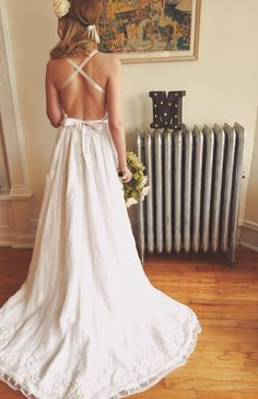 Backless Bohemian Wedding Dress by MrsRobinsonsDaughter on Etsy