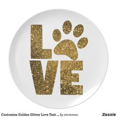 Customize Golden Glitter Love Text with Animal Paw