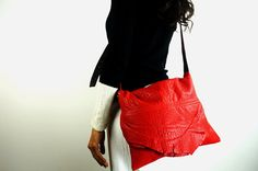 RED LEATHER BAG Raw Edge Flap and Adjustable by NeroliHandbags