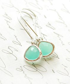 Mint Aqua Silver Bridesmaid Gifts Bridal Jewelry Drop Earrings Dangle Earrings Jewelry Accessories Bridesmaid Set Limon Bijoux