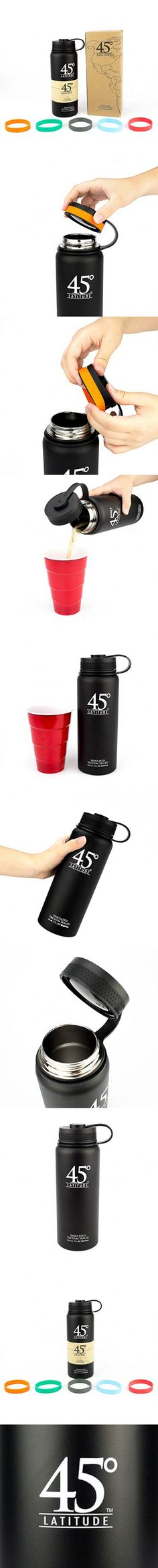45 Degree Latitude Stainless Steel Insulated Vacuum Sealed Water Bottle, 24-Ounce, Black