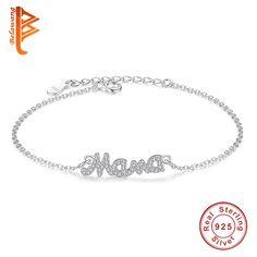 Amazing Price $5.14, Buy Brand 925 Sterling Silver Jewelry Austrian Crystal Bracelet Link Chain Bracelets Mama Charm Bracelet For Women Mother's Day Gift