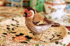 Greetings Card with Envelope Gold Finch Bird Tea Party by cfrefesmith