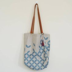 Printed linen tote Large shoulder bag Tote with leather