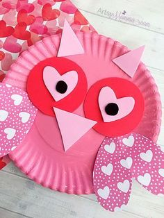 Super Sweet Valentine's Day Paper Plate Owl Craft