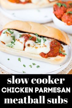 Slow Cooker Chicken Parmesan Meatball Subs are the most delicious meal to have waiting for you when you get home from work! #chicken #meatballs #slowcooker via @greenschocolate