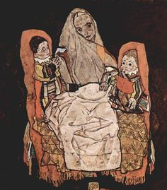 Painting by Egon Schiele, 1917, Mother with Two Children, oil on canvas.