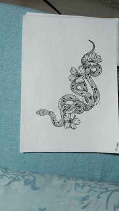 Эскиз для татуировки #татуировка #змея #эскиз