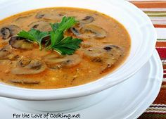 Hungarian Mushroom Soup: Adapted recipe by For the Love of Cooking. Pinned from For the Love of Cooking. I want to try THIS recipe next! Original recipe by Moosewood Cookbook Hungarian Mushroom Soup, Mushroom Stew, Vegetarian Recipes, Cooking Recipes, Vegetarian Soup, Healthy Recipes, Hungarian Recipes, Hungarian Food, Hungarian Cuisine