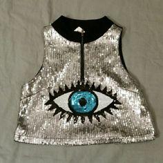 Sequin Eye Crop Top Great Rave Wear Tops Crop Tops