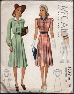 1940s Ladies Dress Sewing Pattern - McCall #3339