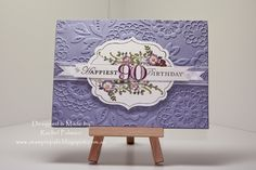 Rachel @ Stampin' Pals,# 90th birthday card,# Stampin' Up! Apothecary Art stamp set, #Memorable Moments