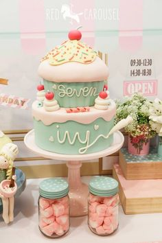 I just want the top part of this cake, i want it to look like a cupcake but not with fondant, any other icing. The cherry and hundreds and thousands can be fondant but the majority of the cake must be with butter/ cream cheese icing. The inside can be funfetti.