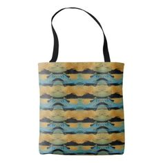 #black - #Monoprint Gold Black Blue Tiled Abstract Painting Tote Bag