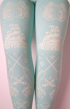 Pirate Printed Tights Small White Pearl on Duck Egg Blue Womens Nautical Tattoos Octopus Narwhal Squid Skull Anchor - 2019 Cool Tights, Blue Tights, Patterned Tights, Look Fashion, Fashion Shoes, Womens Fashion, Blue Fashion, Funky Fashion, Lolita Fashion