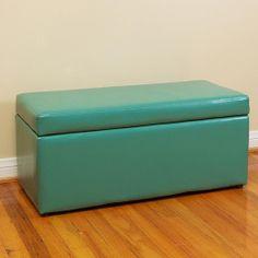 York Dark Seafoam Green Storage Ottoman (Green Upholstered)