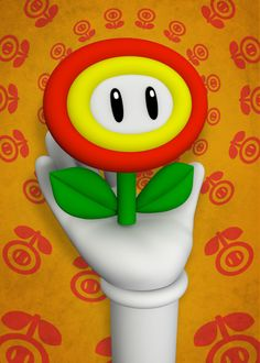 "Video Game Character Items Mario Fire Flower #Displate artwork by artist ""Mauricio Somoza"". Part of a 14-piece set featuring artwork based on characters from various popular video game franchises. £39 / $52 per poster (Regular size), £71 / $96 per poster (Large size) #VideoGame #VideoGames #Nintendo #SEGA #Mario #Luigi #Wario #DonkeyKong #Yoshi #Pokémon #Sonic #SonicTheHedgehog #Knuckles #Bomberman #Mushroom #SuperMario #SuperMarioBros #HandsUp"