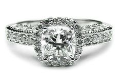 Cushion diamond Halo Engagement ring three sides pave band in White Gold