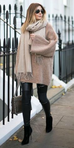 loving + Emma Hill + winter aesthetic + 'classic elegance' + sweater dress + leather leggings + boots + oversized scarf + give this look a go!   Dress: Like To Know It.