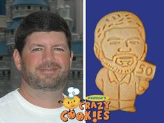 """Celebrate a 50th birthday in the most clever way! Parker's Crazy Cookies makes custom cookies of the """"man of the hour"""" for fabulous party favors or as part of the dessert."""