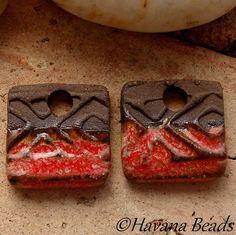 RED EARRING Dangles - 2 Handmade Ceramic Earring Pair - #22 - Havana Beads ($8.00)