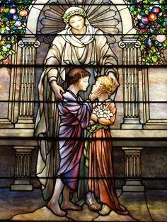 Description: Richmond, Virginia (VA): St Paul's Episcopal Church: The Kiss of Charity (installed 1916, Tiffany Studios)