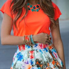 orange shirt. floral skirt. SUMMER!