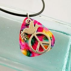 Guitar Pick Pendant Pink Tie Dye Dove by susanwilliamsdesigns, $12.00